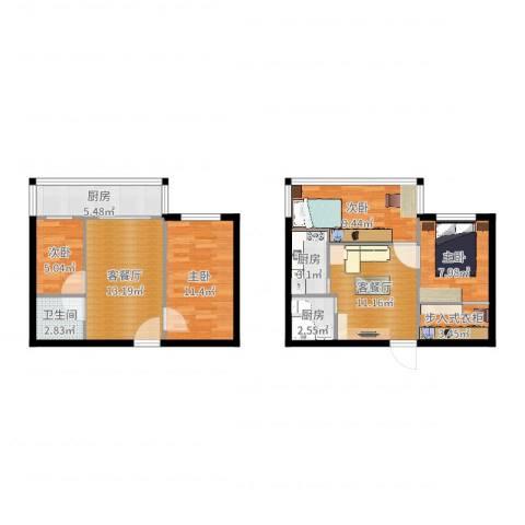牛街西里二区12号楼52平4室4厅1卫3厨95.00㎡户型图