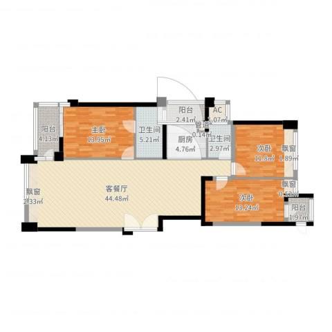 御翠天峯3室2厅2卫1厨133.00㎡户型图