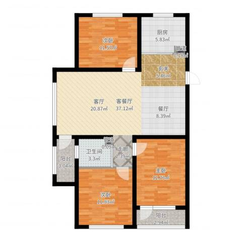 万嘉国际3室2厅1卫1厨111.00㎡户型图