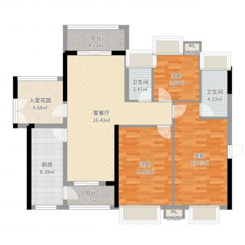 礼顿・金御海湾3室2厅2卫1厨118.00㎡户型图