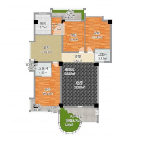 汇景蓝湾3室1厅4卫2厨184.00㎡户型图