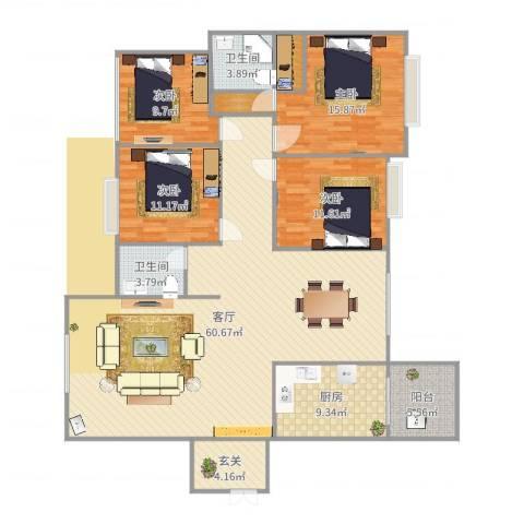 中港世纪嘉城4室1厅2卫1厨174.00㎡户型图