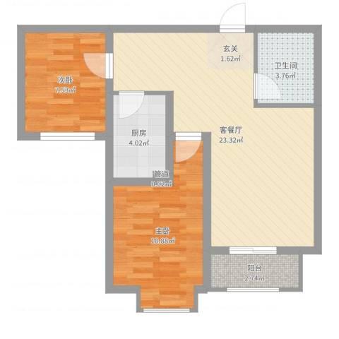 香江・卡纳溪谷2室2厅1卫1厨65.00㎡户型图