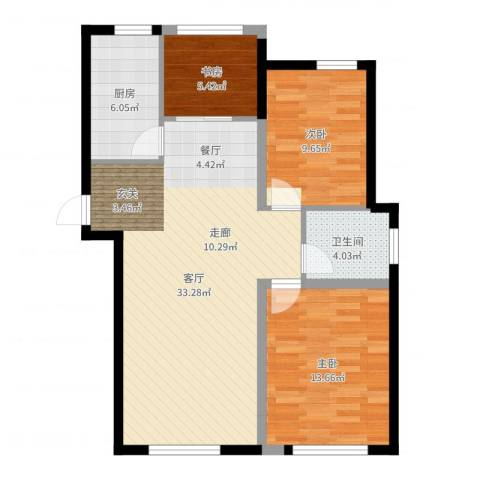 金桥澎湖山庄3室1厅1卫1厨90.00㎡户型图