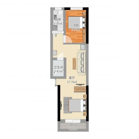 中华小区1室1厅1卫1厨56.00㎡户型图