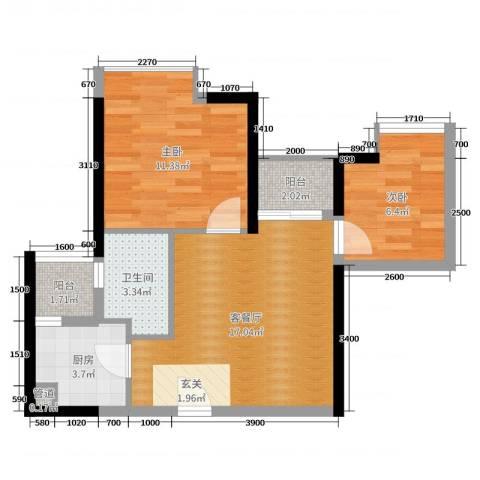 佳兆业水岸华都2室2厅1卫1厨63.00㎡户型图
