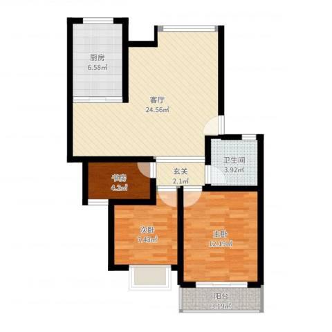 鸿禧花园3室1厅1卫1厨99.00㎡户型图