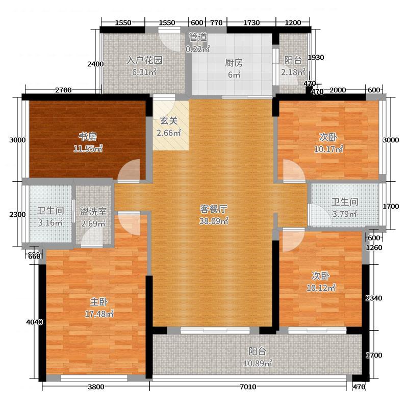 中洲・中央公园142.37㎡37/38栋B1户型3室3厅2卫1厨