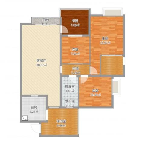 半岛花园二期佘4室4厅1卫1厨128.00㎡户型图