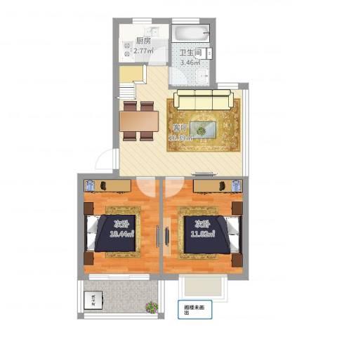 宁沁家园2室1厅1卫1厨61.00㎡户型图