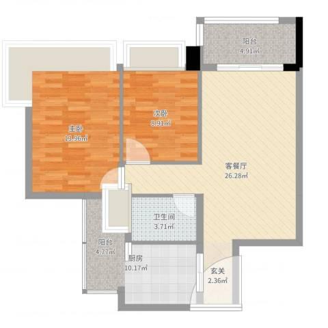 雅居乐岭会2室2厅1卫1厨85.00㎡户型图
