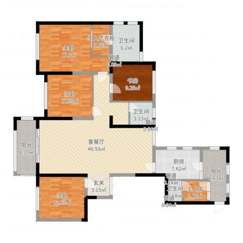 天慧紫辰阁4室2厅3卫1厨170.00㎡户型图