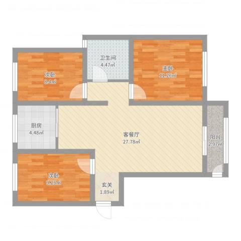 香江・卡纳溪谷3室2厅1卫1厨86.00㎡户型图