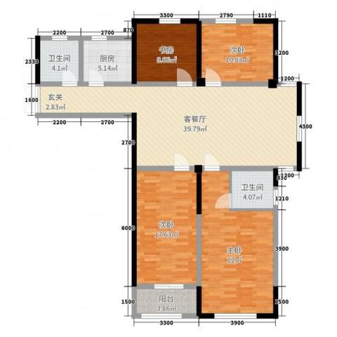 新都市华庭4室2厅2卫1厨143.00㎡户型图