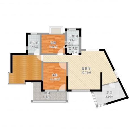 翰林雅居2室2厅2卫1厨110.00㎡户型图