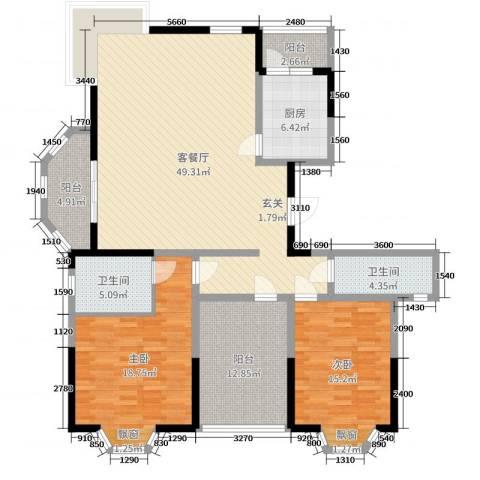 华府壹区2室2厅2卫1厨146.00㎡户型图