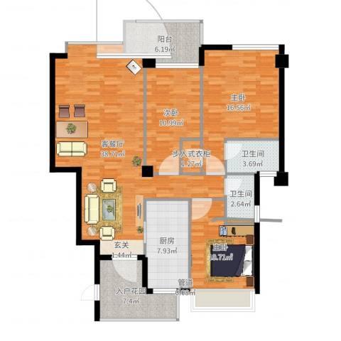 大溪地3室2厅2卫1厨133.00㎡户型图