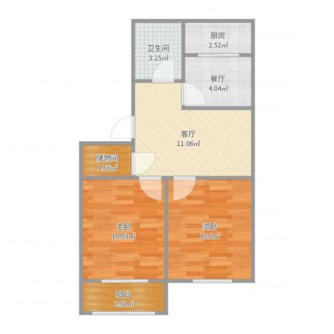 山大南路山大宿舍2室2厅1卫1厨57.00㎡户型图