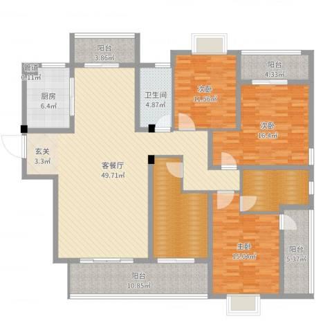 华府豪庭二期3室2厅1卫1厨183.00㎡户型图