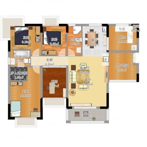 星月花园4室2厅2卫1厨140.00㎡户型图