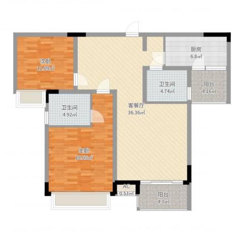 金易星辰2室2厅2卫1厨114.00㎡户型图