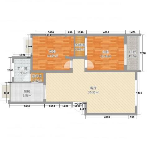 朝阳小区2室1厅1卫1厨101.00㎡户型图