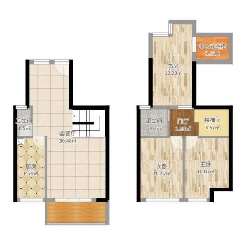 锦地繁花3室2厅2卫1厨112.00㎡户型图