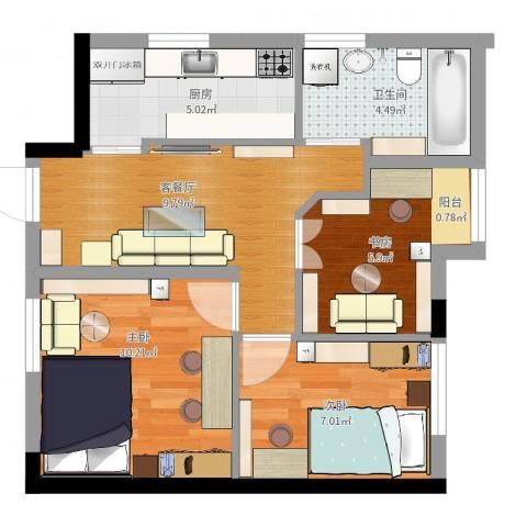 绿城新干线3室2厅1卫1厨53.00㎡户型图