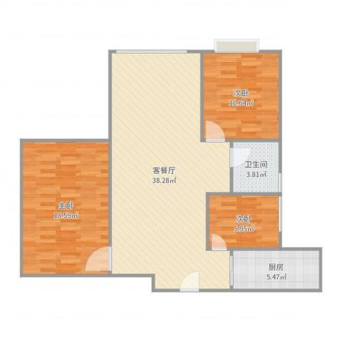 文华花园3室2厅1卫1厨103.00㎡户型图