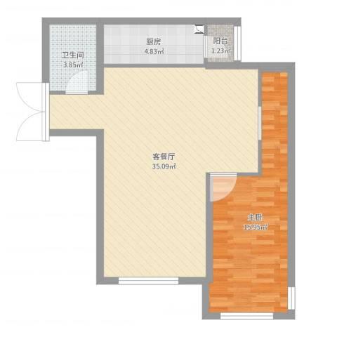 K2·京南狮子城1室2厅1卫1厨76.00㎡户型图