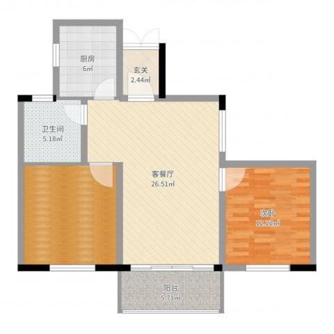 金色阳光城1室2厅1卫1厨89.00㎡户型图