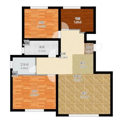 大禹褐石公园3室2厅1卫1厨108.00㎡户型图