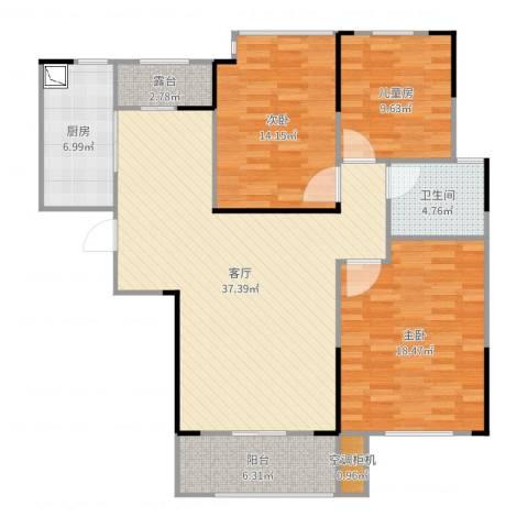 水映加州依云郡3室1厅1卫1厨127.00㎡户型图