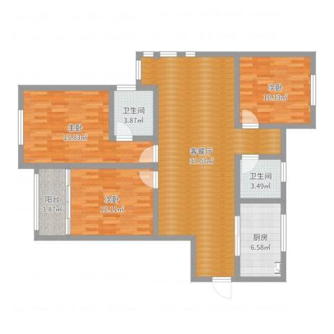 梅荆花苑3室2厅2卫1厨116.00㎡户型图