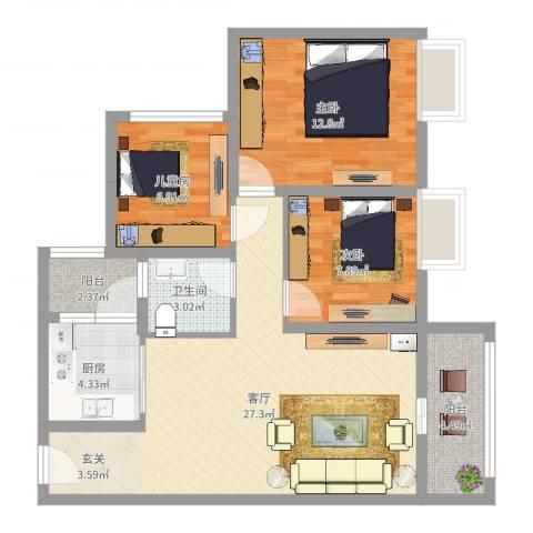 大足铜锣湾3室1厅1卫1厨86.00㎡户型图