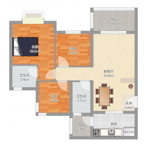 祈福聚龙堡3室2厅2卫1厨91.00㎡户型图