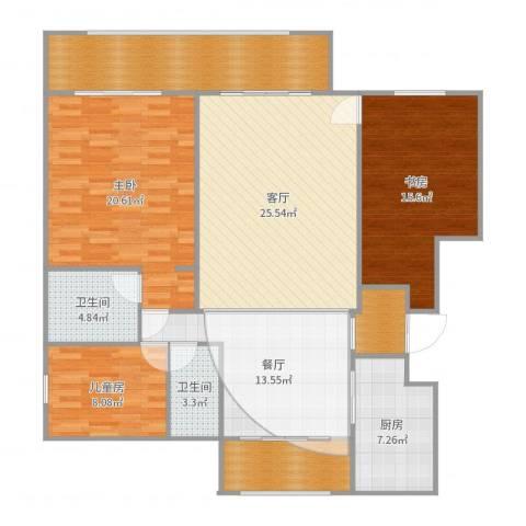 万科海港城3室2厅2卫1厨147.00㎡户型图