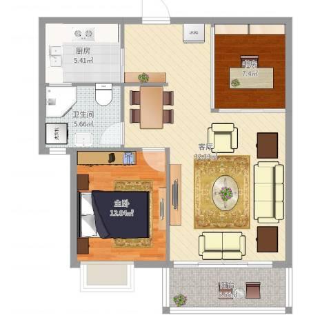 世茂世界湾花园南区2室1厅1卫1厨85.00㎡户型图