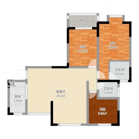 万福・君临天下3室2厅2卫1厨117.00㎡户型图
