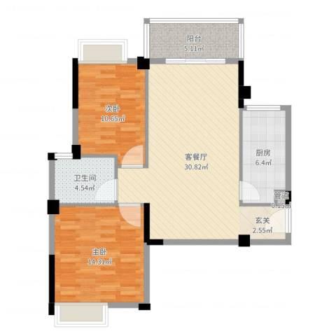 华京花园2室2厅1卫1厨90.00㎡户型图