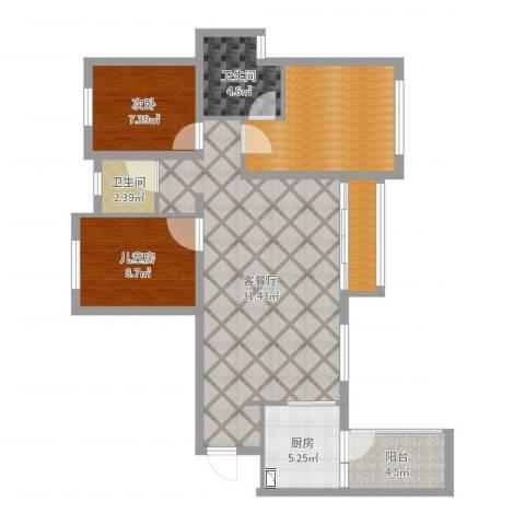 合能璞丽2室2厅2卫1厨98.00㎡户型图