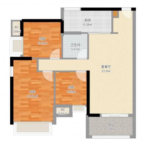礼顿・金御海湾3室2厅1卫1厨92.00㎡户型图