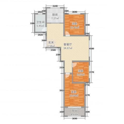 浪琴湾3室2厅1卫1厨113.00㎡户型图