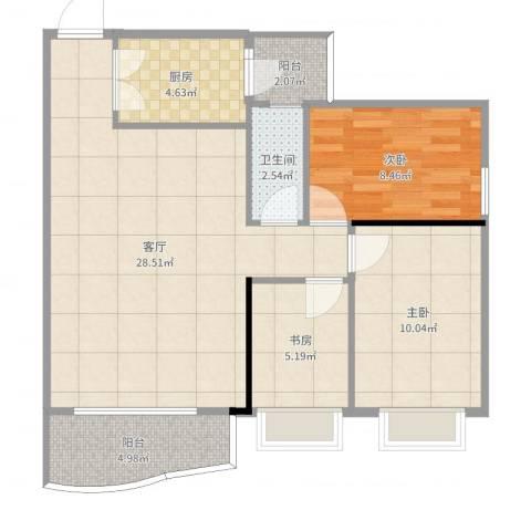 东华花园3室1厅1卫1厨83.00㎡户型图
