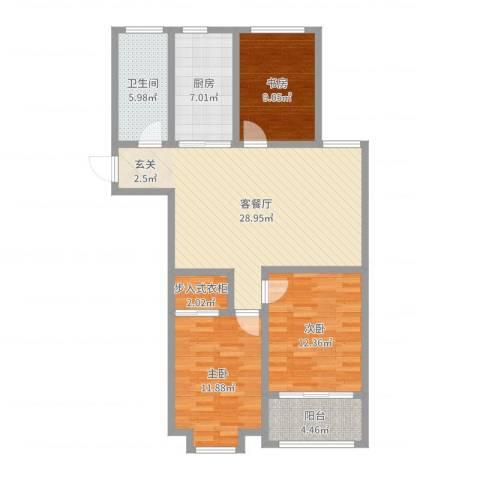 荔水湾3室2厅1卫1厨102.00㎡户型图