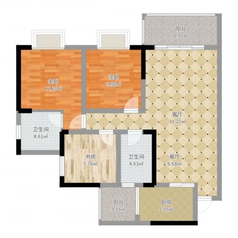 御廷上郡3室1厅2卫1厨108.00㎡户型图