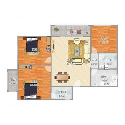 金汇华光城3室2厅2卫1厨139.00㎡户型图
