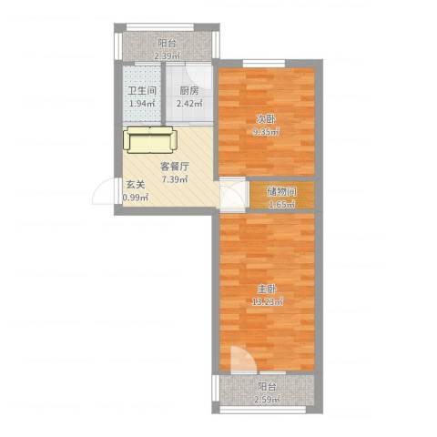 大井北里2室2厅1卫1厨51.00㎡户型图