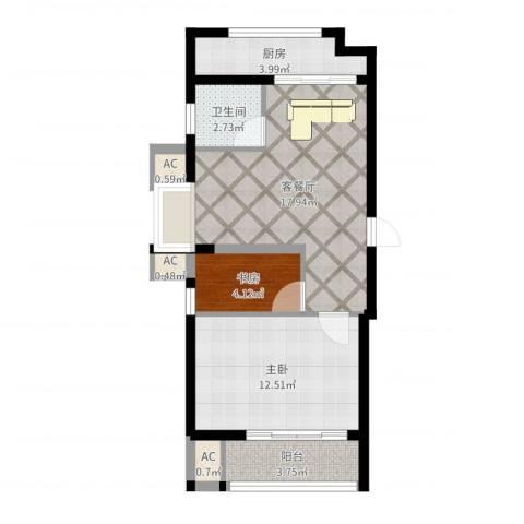 博奥东苑2室2厅1卫1厨59.00㎡户型图