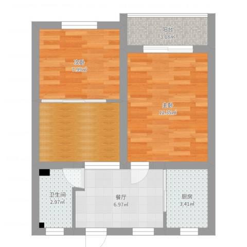 平南一村2室1厅1卫1厨54.00㎡户型图